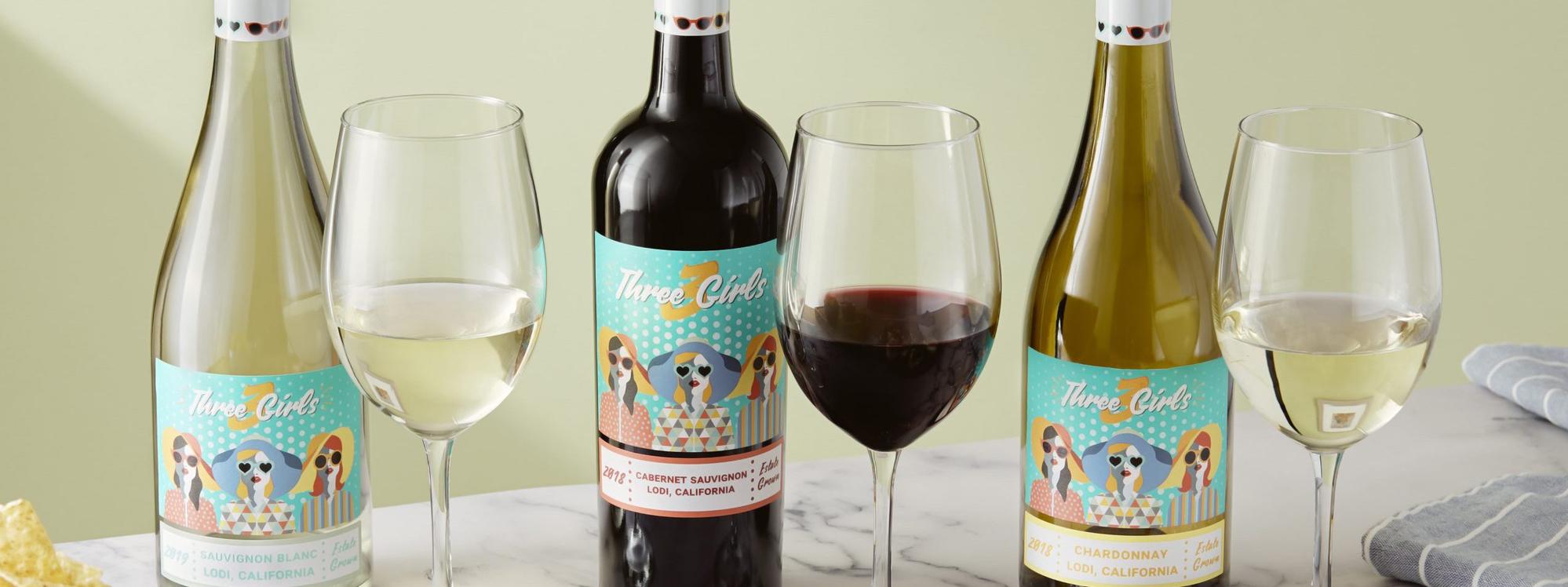 3 Girls Wine bottles